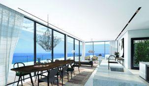 סלון פנטהאוז מתוך פרויקט בוטיק יוקרתי בקרבת החוף תל אביב
